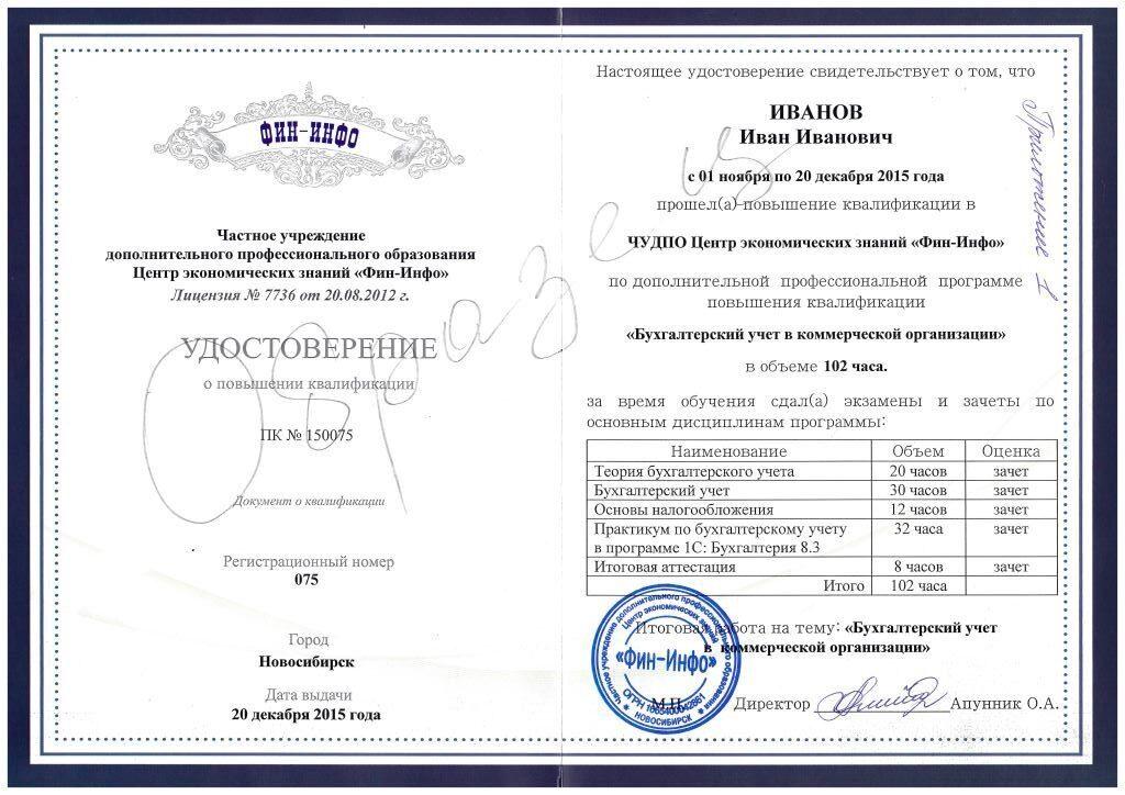 Повышение квалификации для главного бухгалтера дистанционно бухгалтер в бюджетную организацию вакансии самара